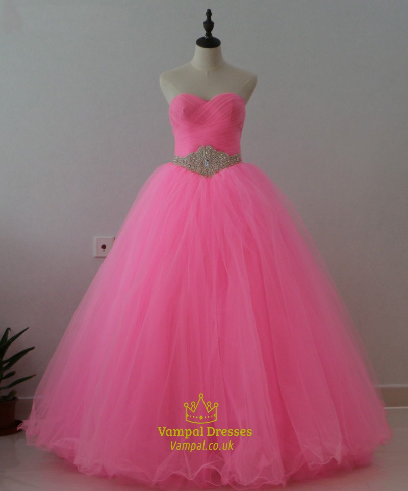 Hot Pink A-Line Strapless Ruched Top Embellished Waist Tulle Ball ...