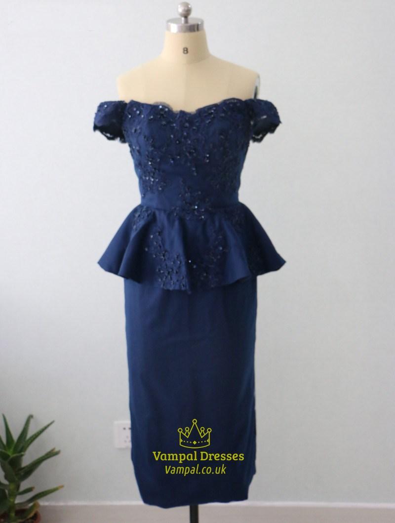 Royal Blue Off The Shoulder Peplum Tea Length Sheath Lace Beaded Dress SKU  -FS2714 f2baa9dc3
