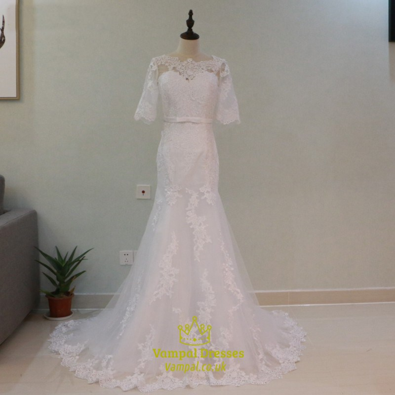 Half sleeve floor length mermaid wedding dress with lace for Half sleeve wedding dress