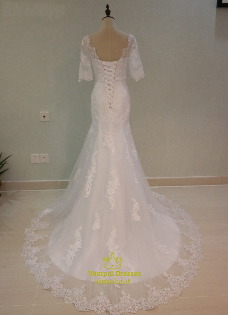 Half sleeve floor length mermaid wedding dress with lace for Wedding dresses with half sleeves