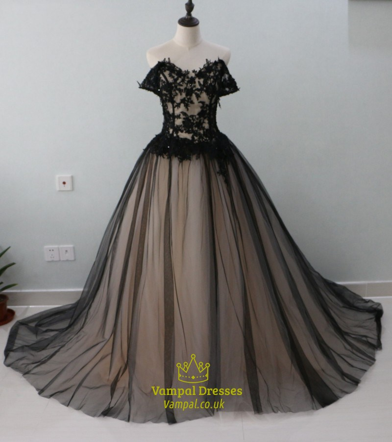 Black Off The Shoulder A-Line Tulle Overlay Ball Gown With Lace ...