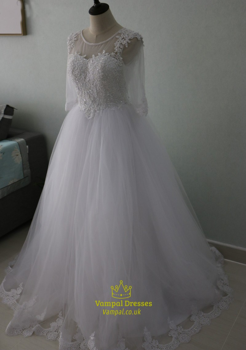Illusion half sleeve a line flor length tulle wedding for Wedding dresses with half sleeves