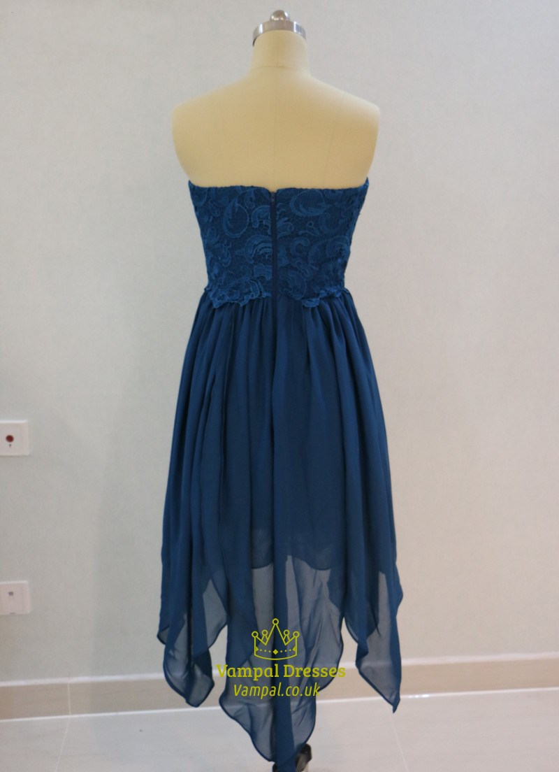 Short a line royal blue strapless lace top chiffon for Royal blue short wedding dresses