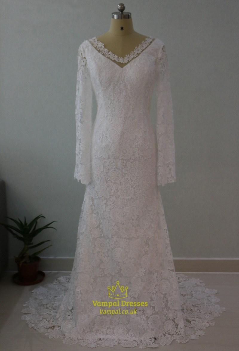 Elegant long sleeve v neck lace floor length mermaid for Floor length lace wedding dress