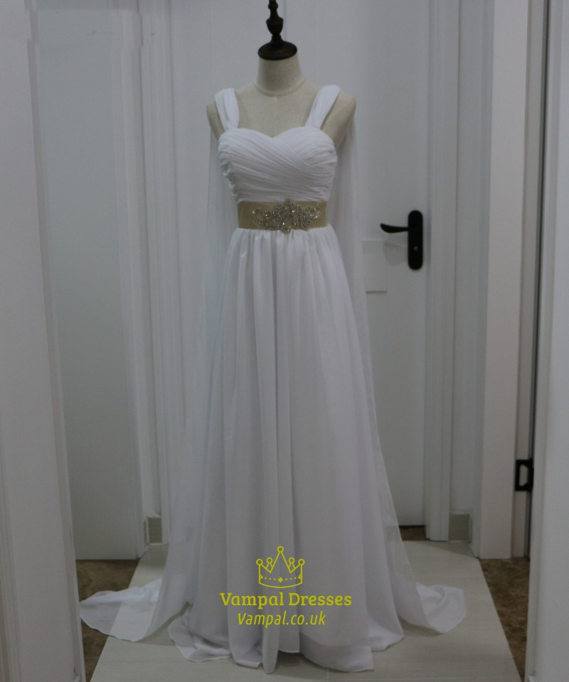 White chiffon sleeveless floor length wedding dress with for Wedding dress with cape train