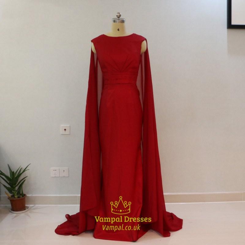 Elegant Burgundy Cap Sleeve Floor Length Prom Dress With Cape Train ...