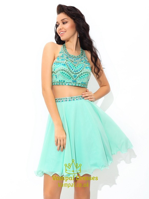 28053879e35 Mint Green Sleeveless Two Piece Short Homecoming Dress With Beaded Top SKU  -FS2763