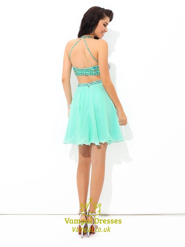 Mint Green Sleeveless Two Piece Short Homecoming Dress With Beaded ...