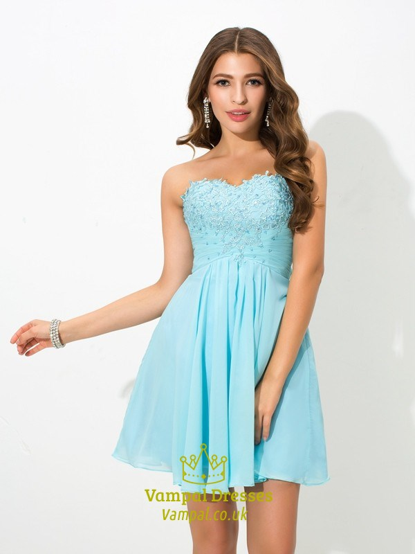 6334cbeca9a5 A-Line Short Strapless Ruched Empire Waist Chiffon Homecoming Dress SKU  -FS2775