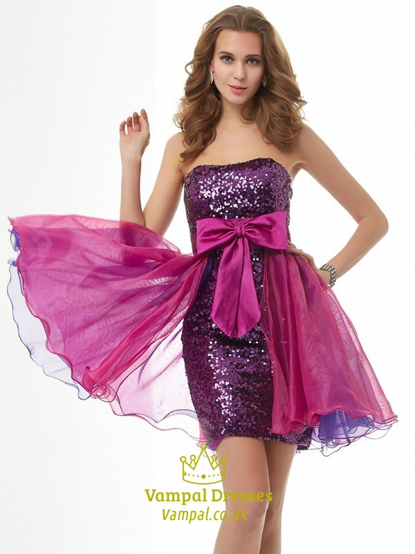 Purple Strapless Short Sequin Cocktail Dress With