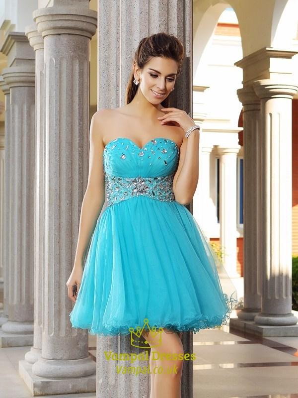 Aqua Blue Strapless Jewel Embellished Tulle Short