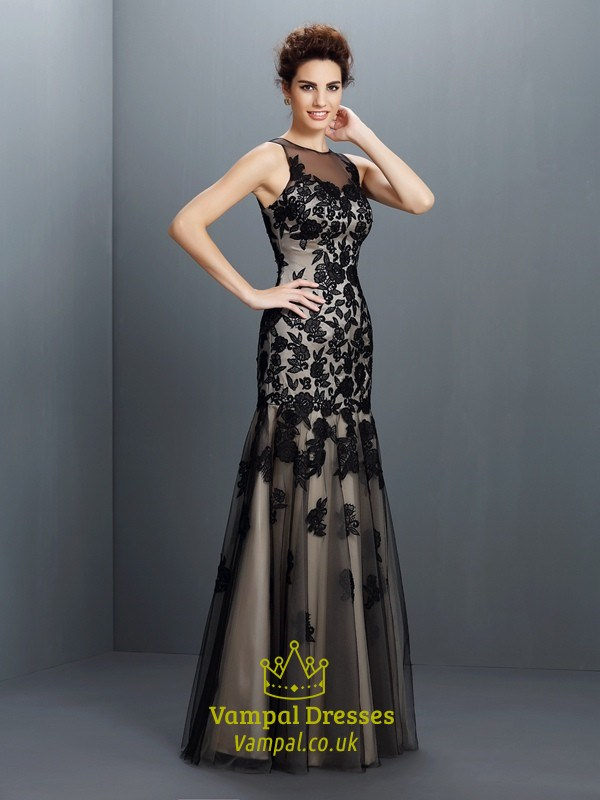 Black Illusion Sleeveless Applique Tulle Drop Waist Long Prom Dress ...