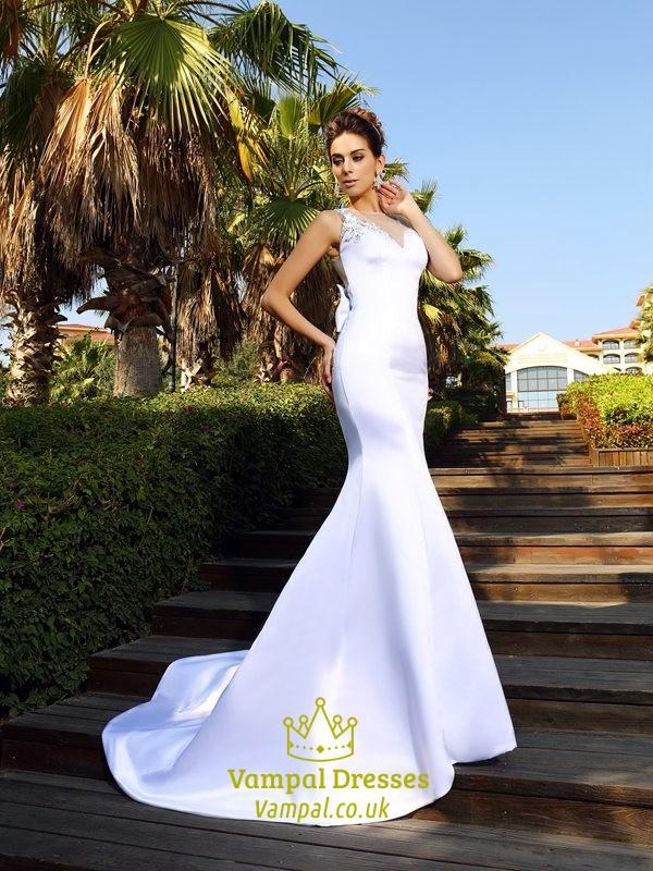 0916942b737 Illusion White Sleeveless Embroidered Bodice Mermaid Long Prom Dress SKU  -FS2803