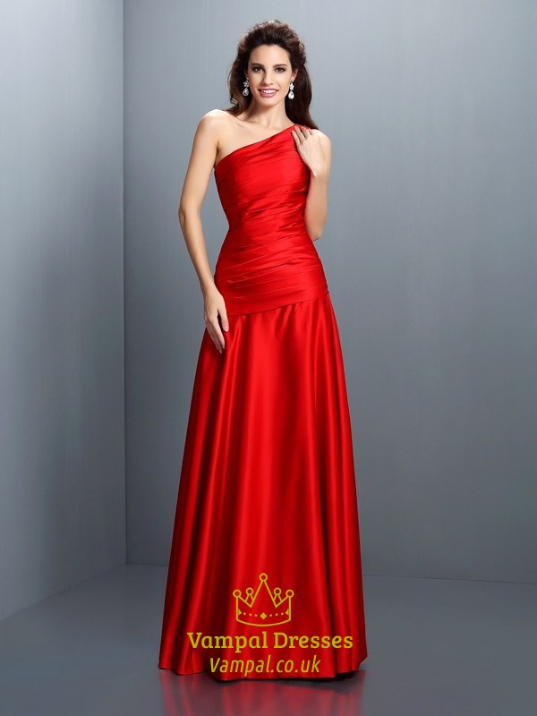 Simple Elegant Red One Shoulder Drop Waist Floor Length Evening ...