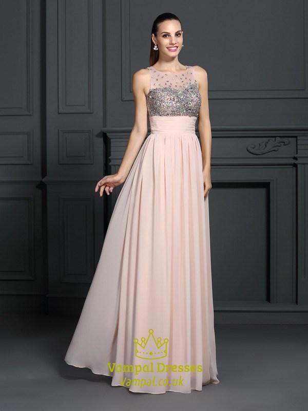 Peach Sleeveless Empire Waist Chiffon Prom Dress With Illusion ...