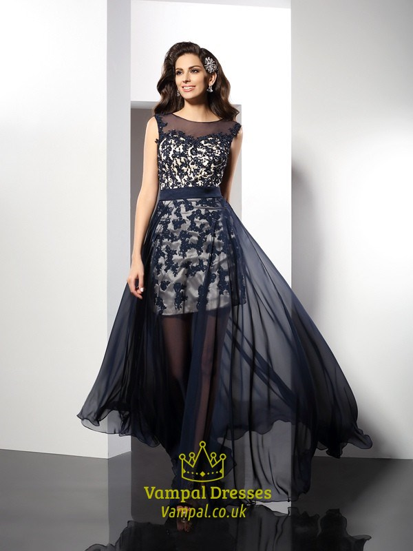 Navy Blue Illusion Lace Embellished Prom Dress With Chiffon Overlay