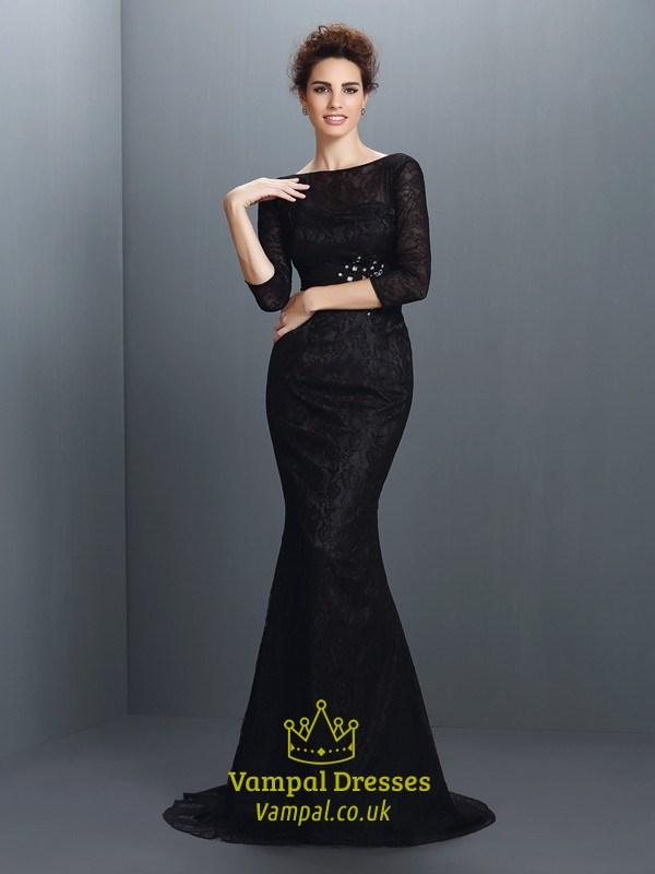 Elegant Black Lace Mermaid Long Formal Dress With 34 Length Sleeves