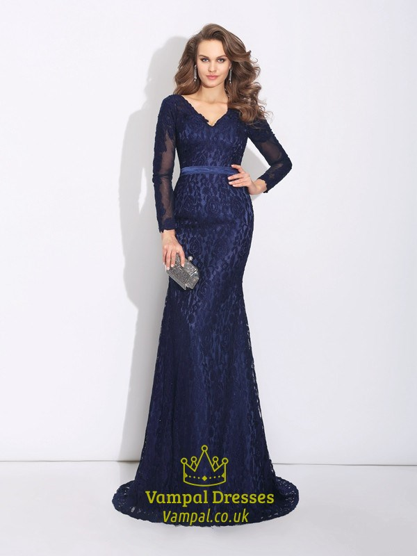 55cc9ae969 Navy Blue V Neck Lace Mermaid Long Prom Dress With Illusion Sleeves SKU  -FS2832