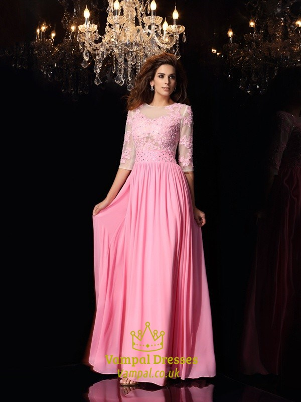 ea92f2d225458 Pink 3/4 Length Sleeve A-Line Chiffon Prom Dress With Illusion Bodice SKU  -FS2833