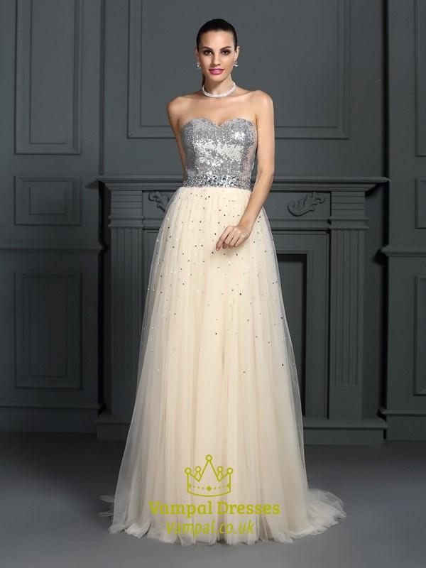 6d5bb934 A-Line Strapless Sequin Bodice Tulle Bottom Floor Length Prom Dress SKU  -FS2834