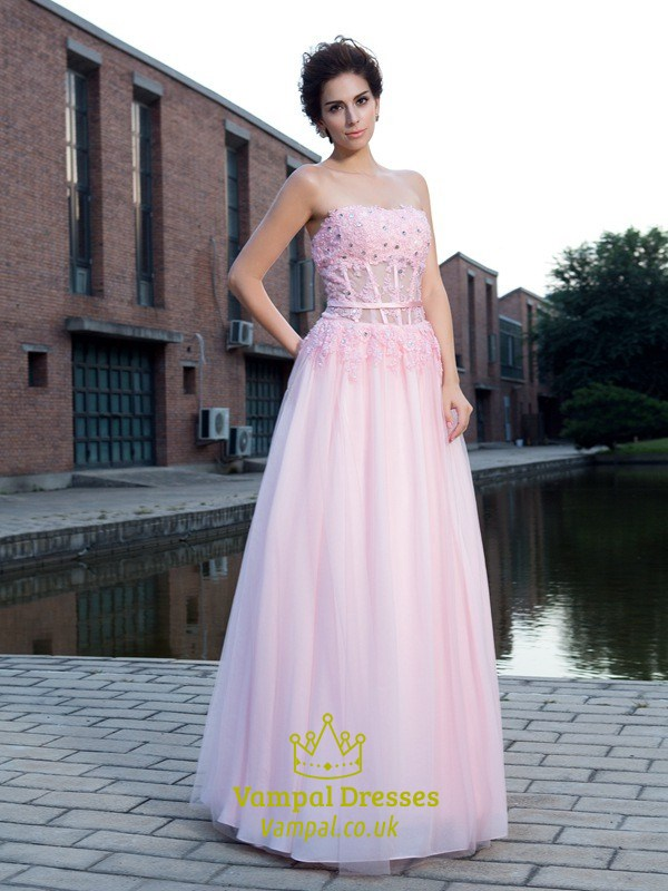 Pink Strapless Corset Bodice A-Line Chiffon Floor Length Prom Dress ...