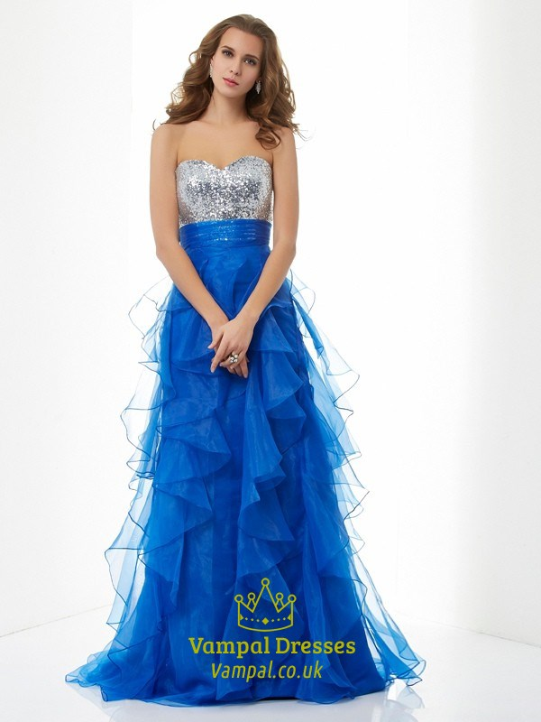 Royal Blue Strapless Empire Waist Sequin Top Ruffle Bottom Prom ...