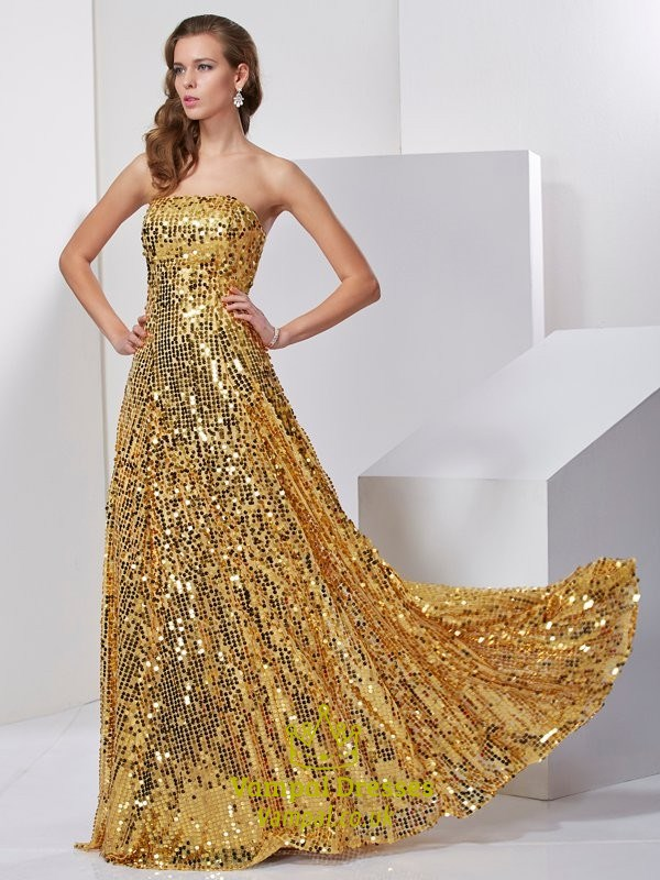 Sparkly Gold Sequin Strapless A Line Floor Length Low Back