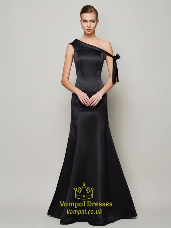 c42eda0d7223ca Simple Elegant Black One Shoulder Floor Length Mermaid Evening Dress SKU  -FS2853