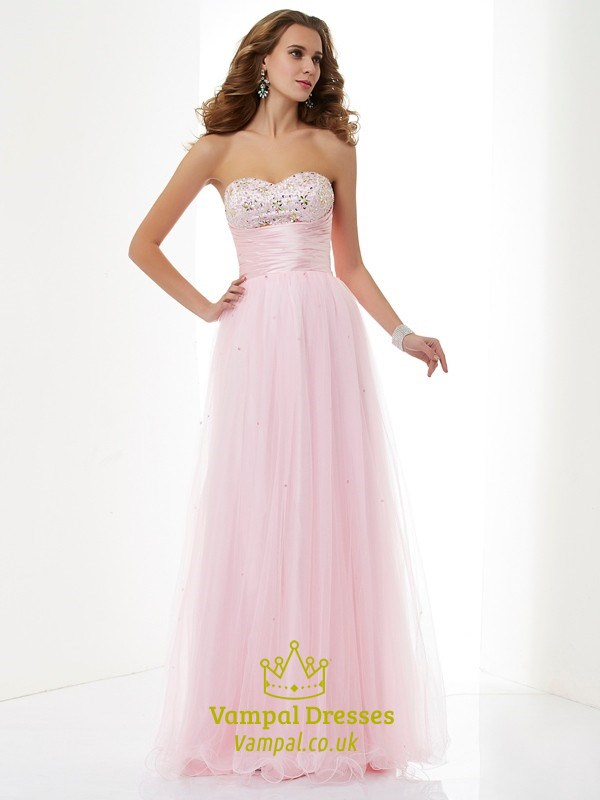 Blush Pink Strapless Tulle Overlay Prom Dress With Ruched Empire ...