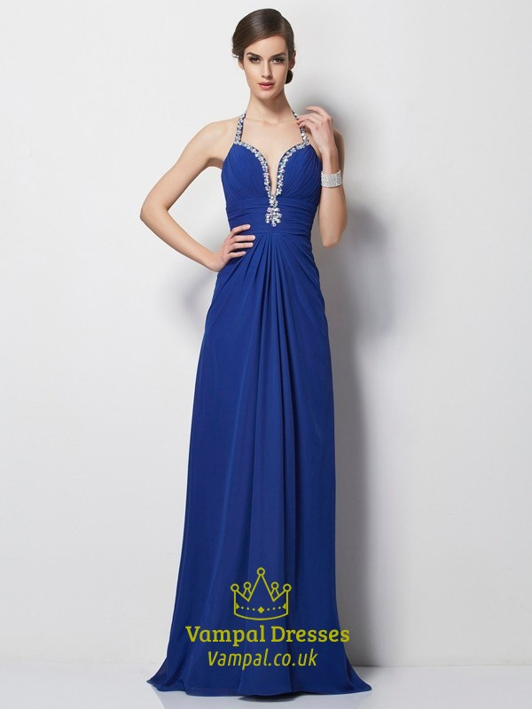 6fca58a2904 Royal Blue Halter Deep V Neck A-Line Chiffon Prom Dress With Open Back SKU  -FS2863