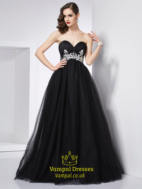 Black Strapless Empire Waist A Line Tulle Prom Dress With