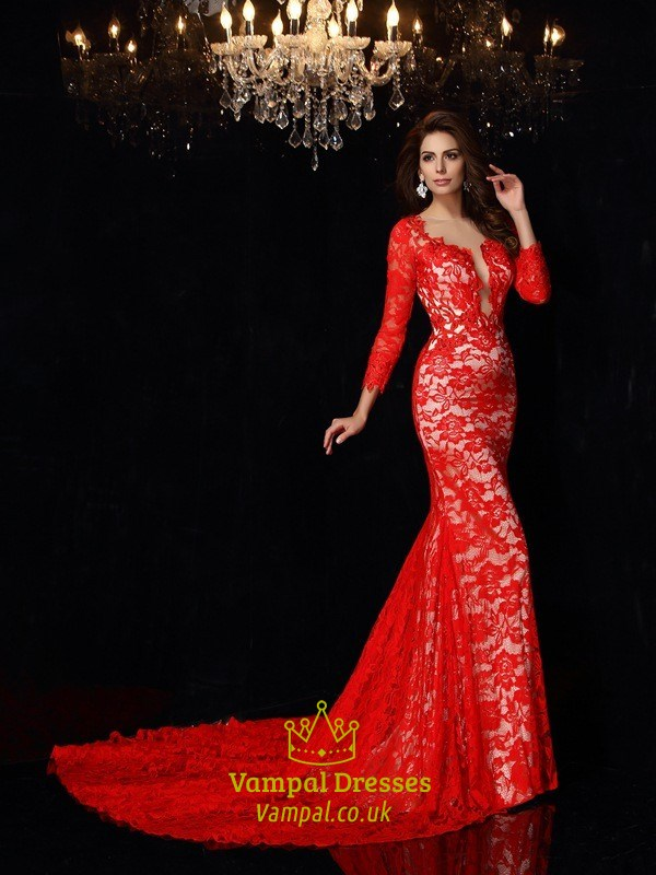 c1343433188 Sheer Red Lace Long Sleeve Mermaid Keyhole Back Prom Dress With Train SKU  -FS2869