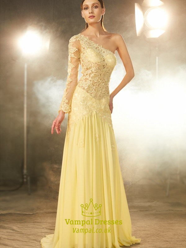 Banana Yellow One Shoulder Lace Chiffon Evening Dress With