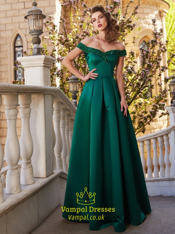Emerald Green Off The Shoulder Satin A Line Floor Length