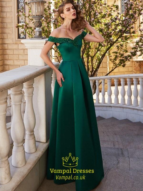 b070cbe6390 Emerald Green Off The Shoulder Satin A Line Floor Length Prom Dress ...
