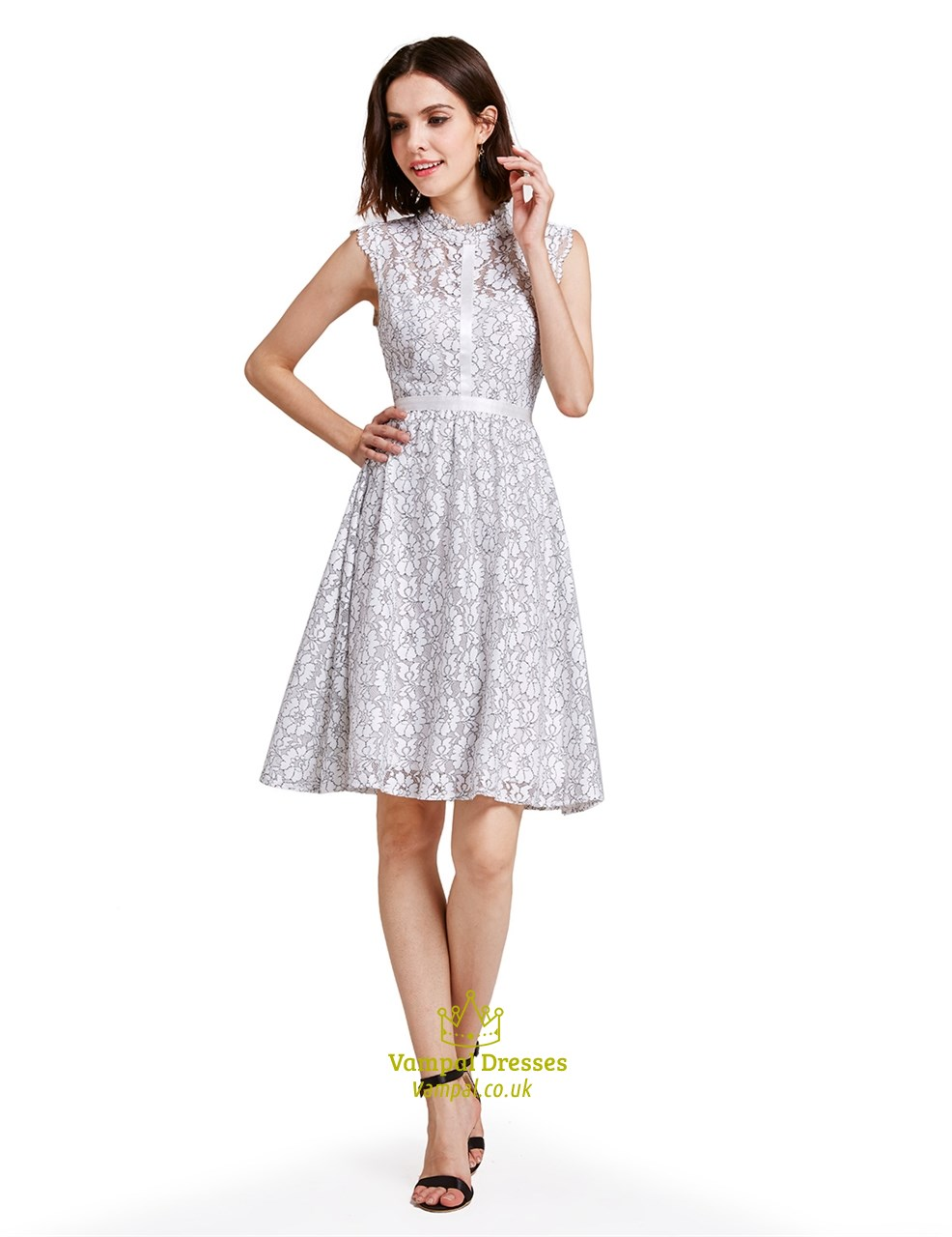 Lovely White A Line Knee Length Sleeveless Lace Cocktail