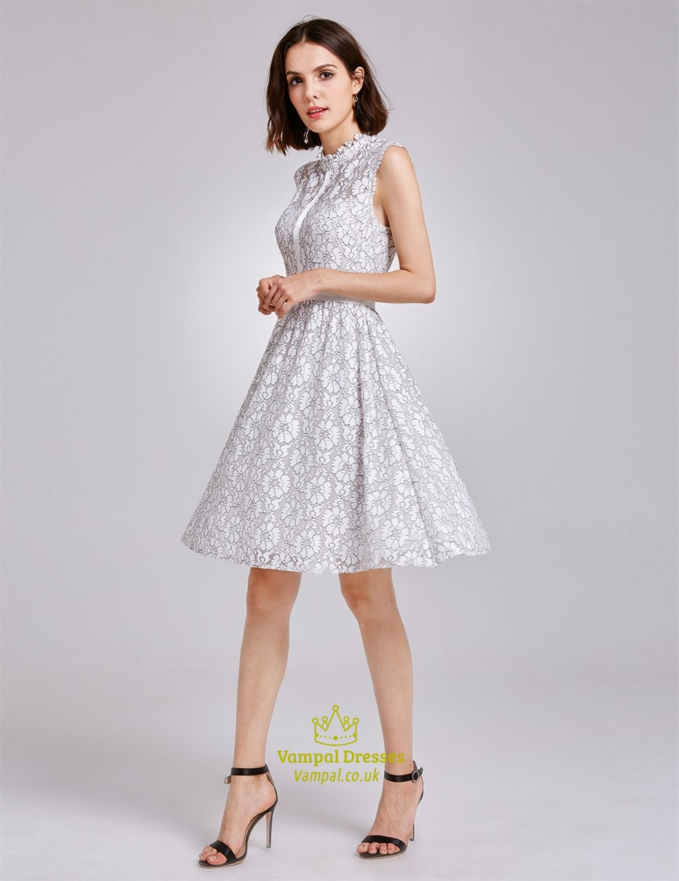 A-line Scoop Neck White Lace Sleeveless Knee-length Formal
