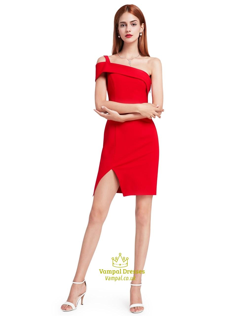 elegant short red one shoulder sheath cocktail dress with