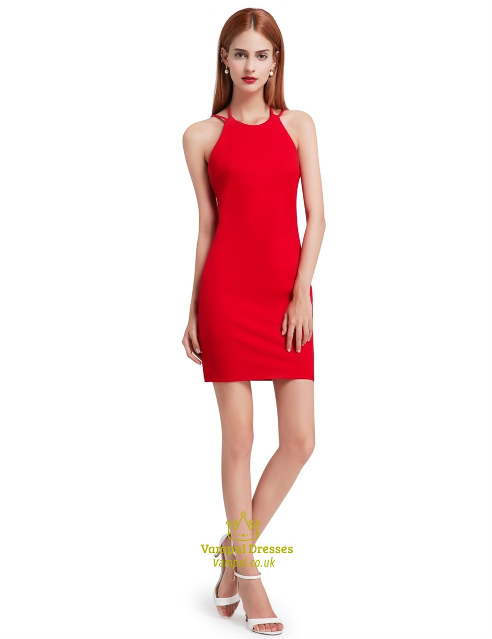 Red Simple Sleeveless Short Sheath Cocktail Dress With Open Back ...