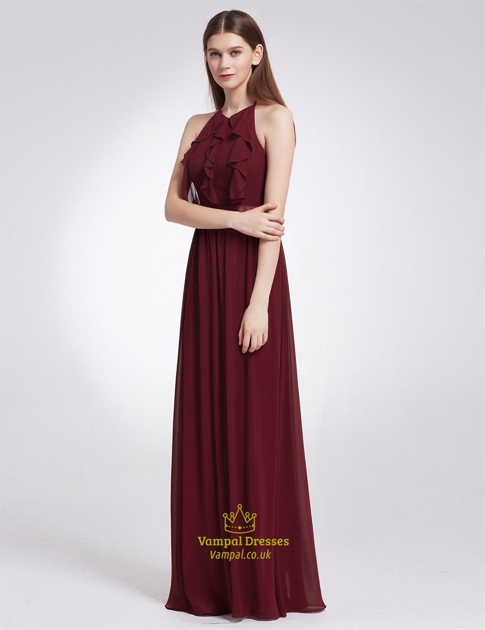 b59754e62479 Burgundy A-Line Halter Neck Chiffon Open Back Long Maxi Dress With Ruffles  SKU -FS2893-BD