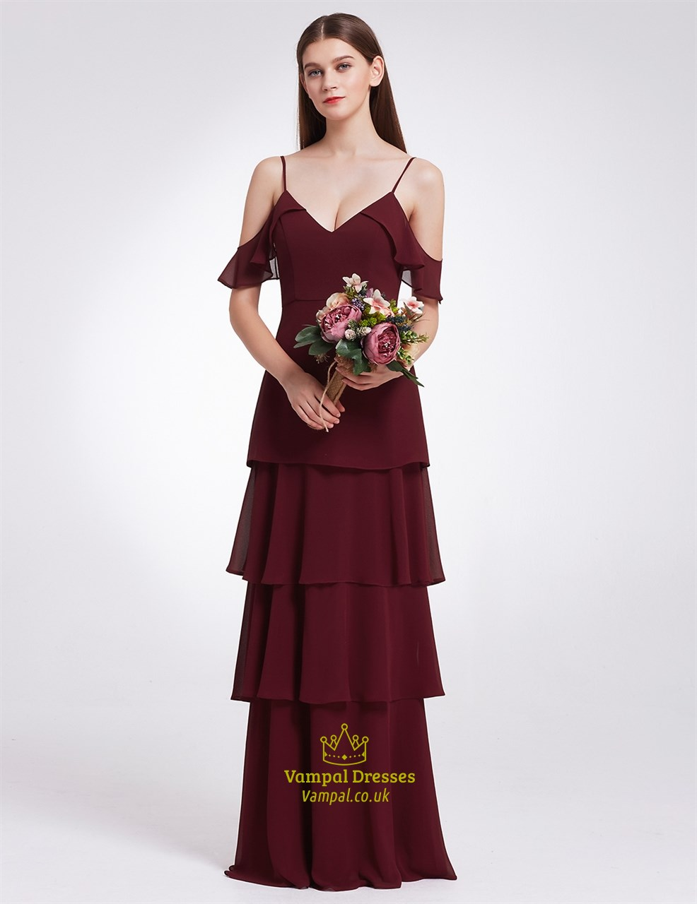 Burgundy Elegant Simple Cold Shoulder A Line Chiffon Long Evening Dress