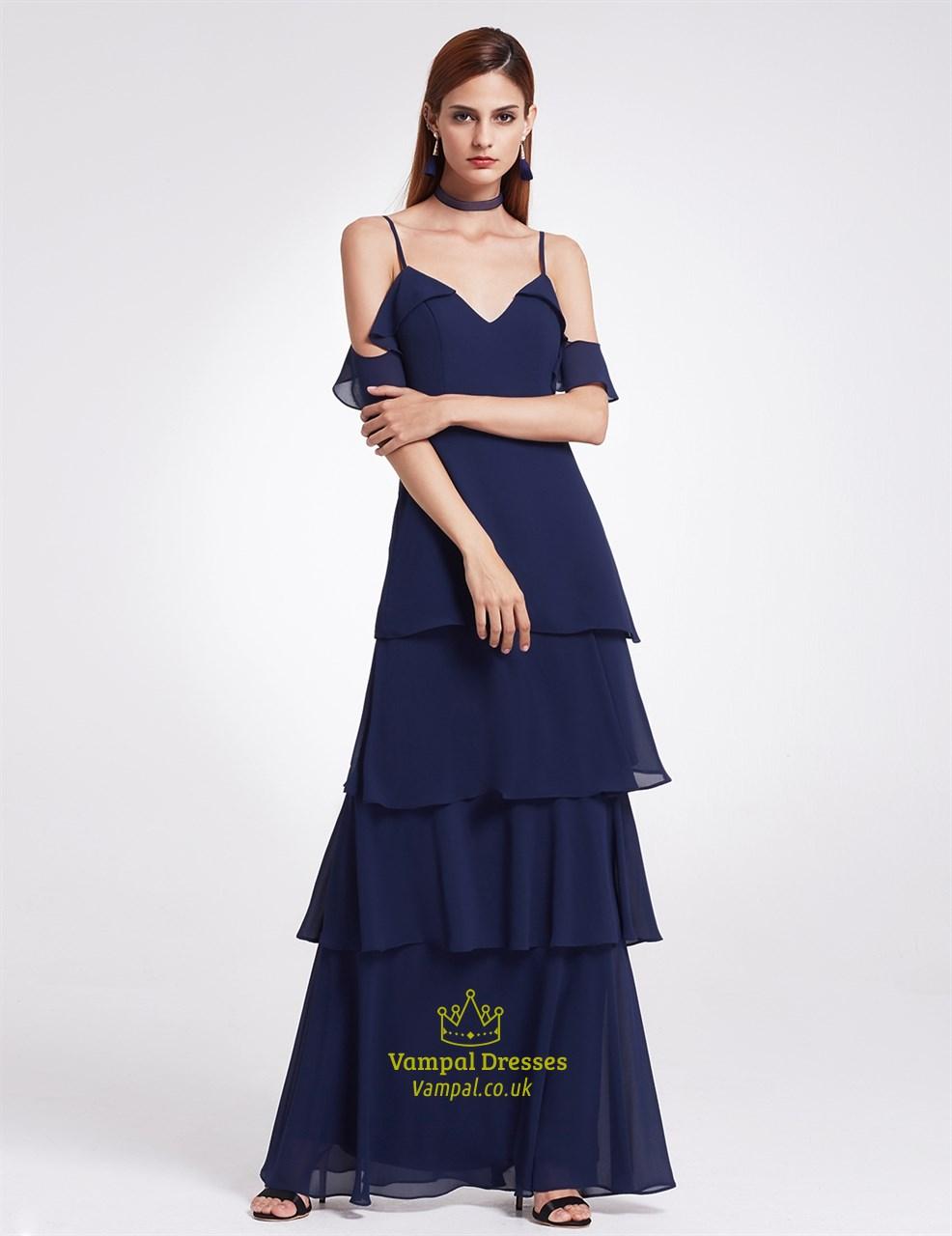 Navy Blue Elegant Simple Cold Shoulder A Line Chiffon Long Evening