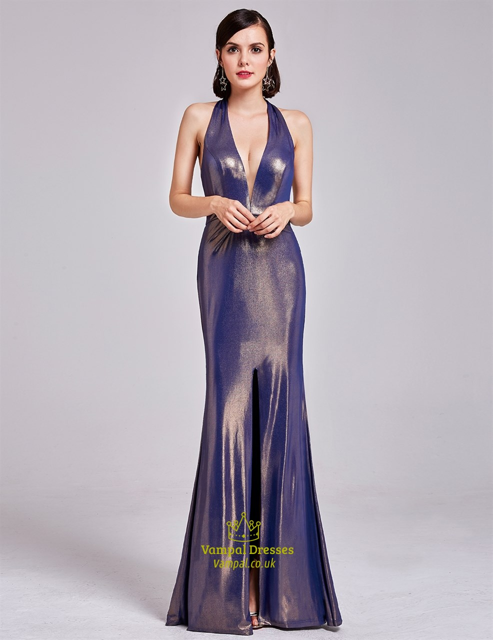 Floor Length Deep V Neck Halter Evening Dress With Slits