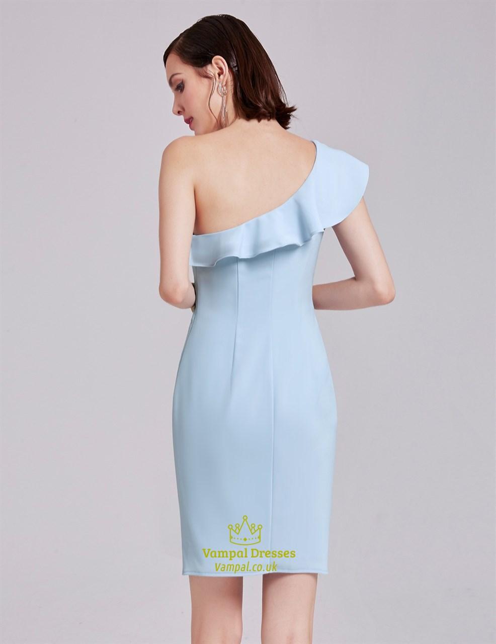 Light Blue Simple One Shoulder Short Sheath Cocktail Dress With Ruffle | Vampal Dresses