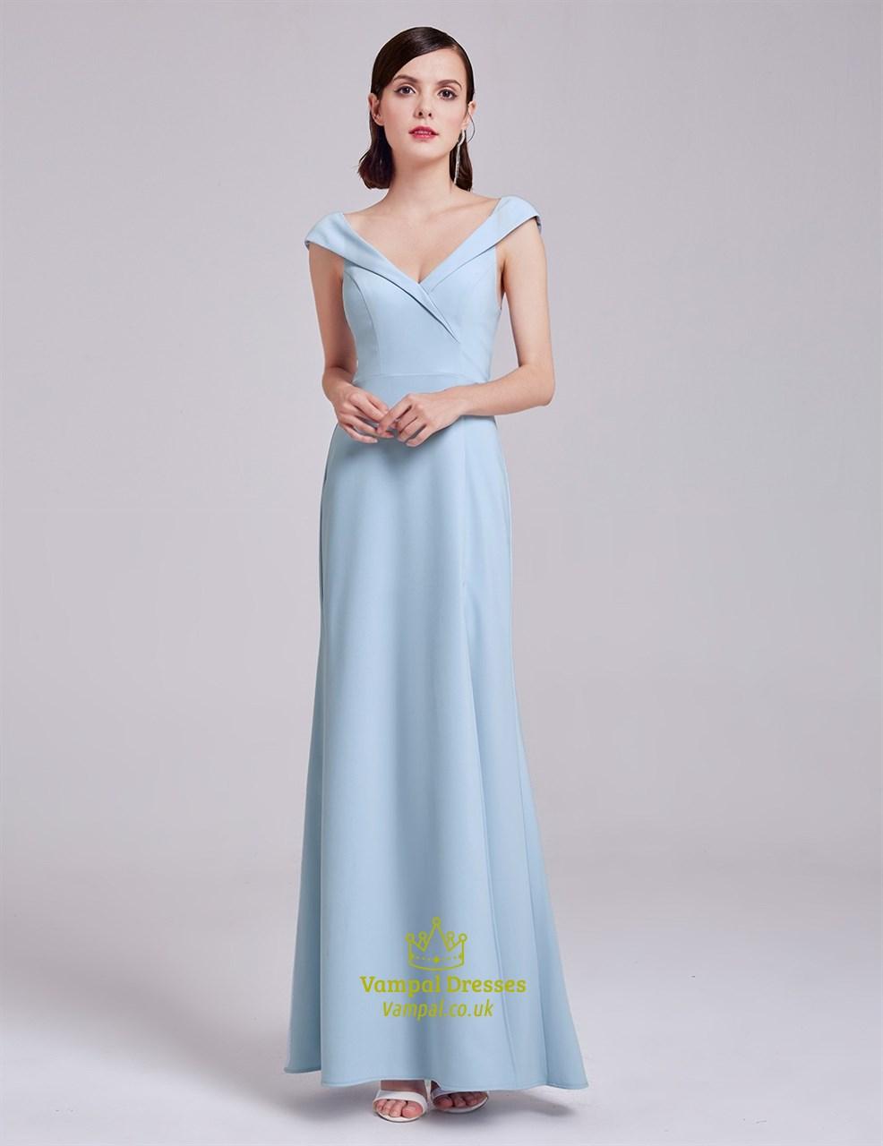 59b75a44bfa Elegant Light Blue Cap Sleeve V Neck Long Evening Dress With V-Back SKU  -FS2902