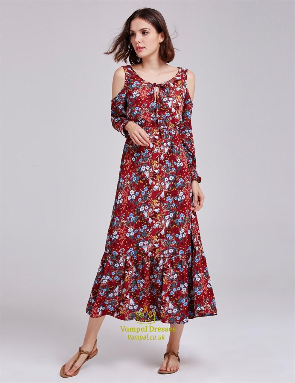 Tea Length Scoop Neckline A Line Floral Print Dress With