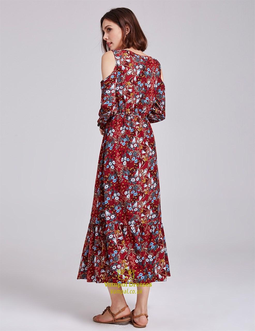 Tea Length Floral Print Dress