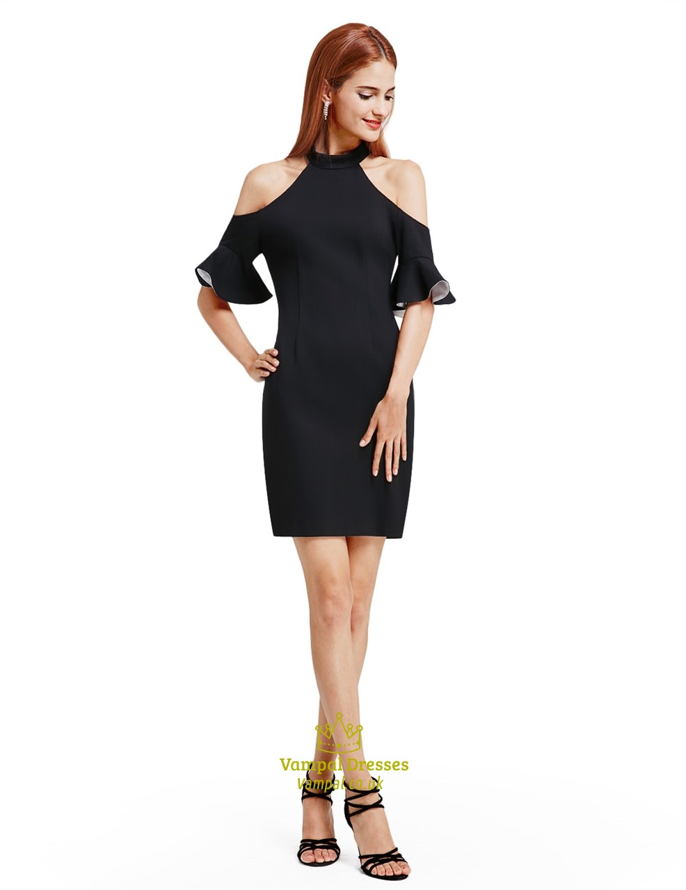 Simple Elegant Black Knee Length Bodycon Cocktail Dress With Sleeves ...