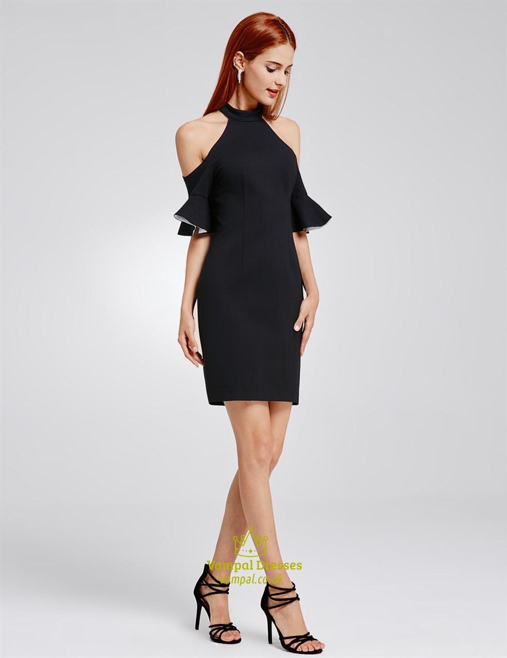 simple elegant black knee length bodycon cocktail dress
