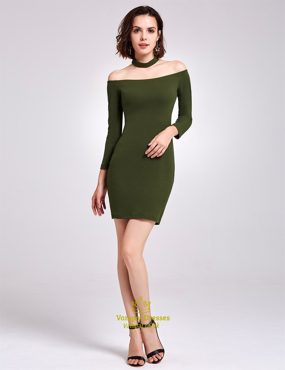 6f77a8eb45b4 Simple Off The Shoulder Short Bodycon Knitting Dress With Long Sleeves SKU  -FS2930